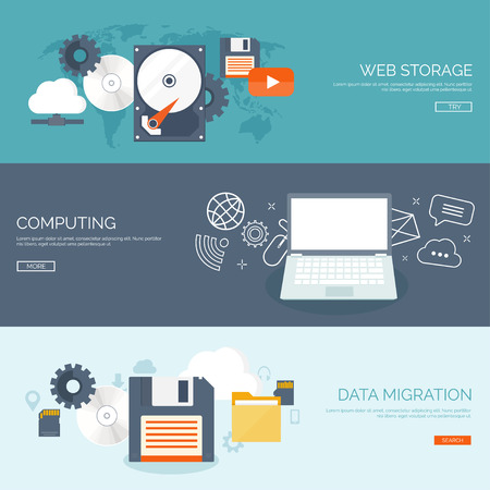 information management: Vector illustration. Flat cloud computing background. Data storage network technology. Multimedia content and web sites hosting. Memory, information transfer.