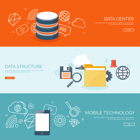 data transfer: Vector illustration. Flat cloud computing background. Data storage network technology. Multimedia content and web sites hosting. Memory, information transfer.