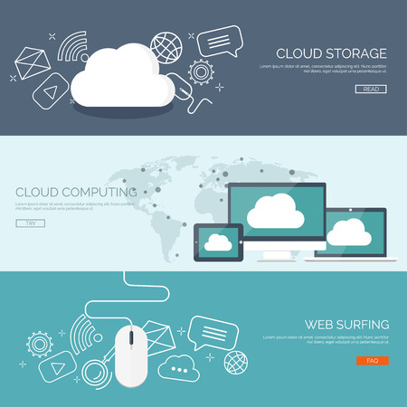 Vector illustration. Flat cloud computing background. Data storage network technology. Multimedia content and web sites hosting. Memory, information transfer.