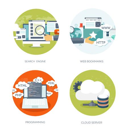 Vektor-Illustration. Wohnung Hintergrund. Codierung, Programmierung. SEO. Suchmaschinenoptimierung. App-Entwicklung und Kreation. Software, Programmcode. Web-Design.