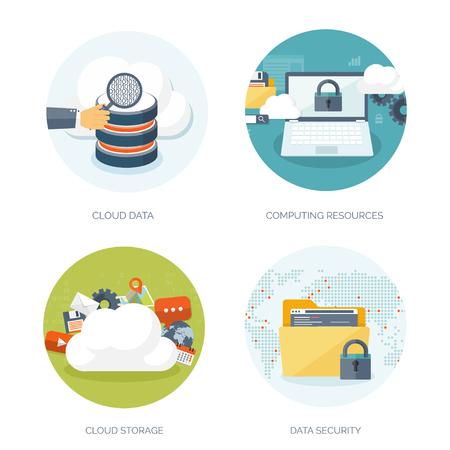 Vektor-Illustration. Wohnung Cloud-Computing-Hintergrund. Datenspeichernetzwerktechnik. Multimedia-Inhalte und Web-Seiten Hosting. Speicher, Informationsübertragung. Standard-Bild - 47769782