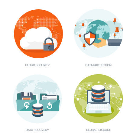 data storage device: Vector illustration. Flat cloud computing background. Data storage network technology. Multimedia content and web sites hosting. Memory, information transfer.