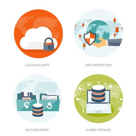 Vektor-Illustration. Wohnung Cloud-Computing-Hintergrund. Datenspeichernetzwerktechnik. Multimedia-Inhalte und Web-Seiten Hosting. Speicher, Informationsübertragung. Standard-Bild - 47769783