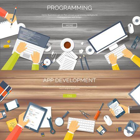 web application: Vector illustration. Flat background. Coding, programming. SEO. Search engine optimization. App development and creation. Software, program code. Web design.
