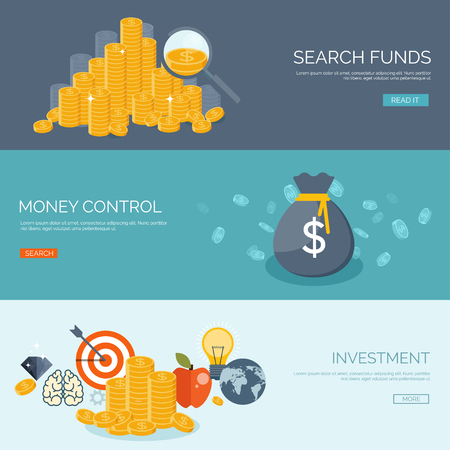 Flat vector illustration background. Money and money making. Web payments. World currency. Internet store, shopping. Pay per click. Business.