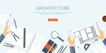 벡터 일러스트 레이 션. 플랫 건축 프로젝트. 팀워크. 건설 및 기획. 구성. 연필, 손. 건축, 디자인.