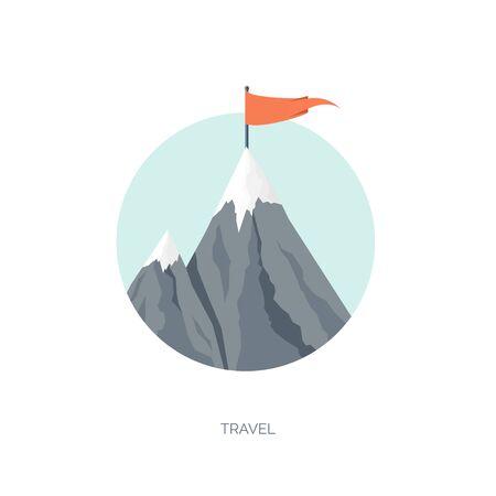 Vector illustration. Flat mountaines. Mission, achievement. Nature , travel. Success, smart solutions concept background.