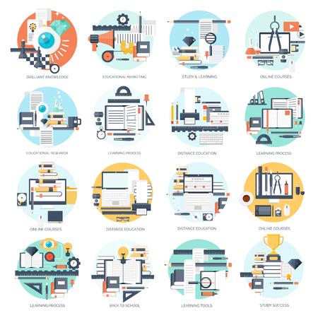 ESTUDIANDO: Ilustración del vector. Fondos planos establecidos. La educación a distancia, el aprendizaje. Los cursos en línea, escuela web. El conocimiento, la información. Proceso de estudio. E-learning. Vectores
