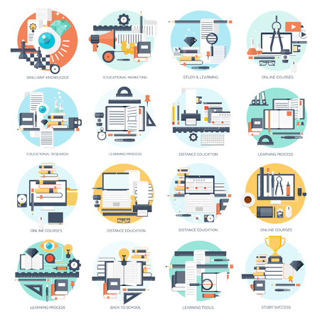 Vector illustration. Flat backgrounds set. Distance education ,learning. Online courses , web school. Knowledge ,information. Study process. E-learning.