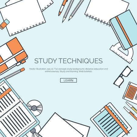 estudiando: Ilustración del vector, rayado. fondos de pantalla plana conjunto. La educación a distancia, el aprendizaje. Los cursos en línea, escuela web. El conocimiento, la información. proceso de estudio. E-learning. Vectores