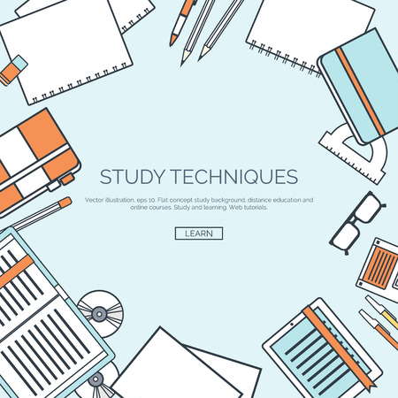 studies: Vector illustration, lined. Flat backgrounds set. Distance education, learning. Online courses, web school. Knowledge, information. Study process. E-learning.