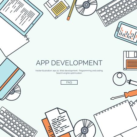 tecnología informatica: Ilustración del vector, rayado. Fondo de computación plana. Programación, codificación. Desarrollo web y buscar. El posicionamiento en buscadores. La innovación, las tecnologías. Aplicación movil.