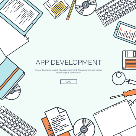 mobile application: Vector illustration, lined. Flat computing background. Programming ,coding. Web development and search. Search engine optimization. Innovation ,technologies. Mobile app. Illustration