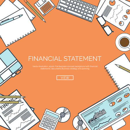 financial statement: Vector illustration, lined. Financial statement and daily report. Money making. Market news. Currency. Infographic.