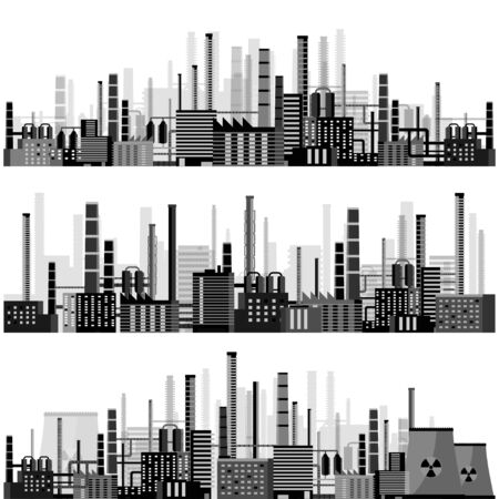 power industry: Vector illustration. Industry. Power plant. Factory. Industrial silhouettes. Engineering, construction. Gas and oil. Illustration