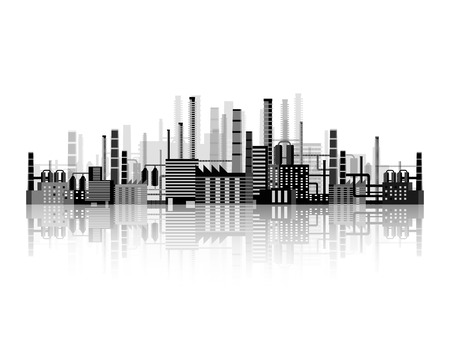 Vector illustration. Industry. Power plant. Factory. Industrial silhouettes. Engineering, construction. Gas and oil. Illustration