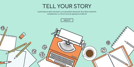 maquina de escribir: Ilustraci�n del vector, rayado. M�quina plana. Cuente su historia. Blogging.