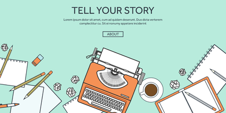 Vector illustration, lined. Flat typewriter. Tell your story. Blogging. Ilustração