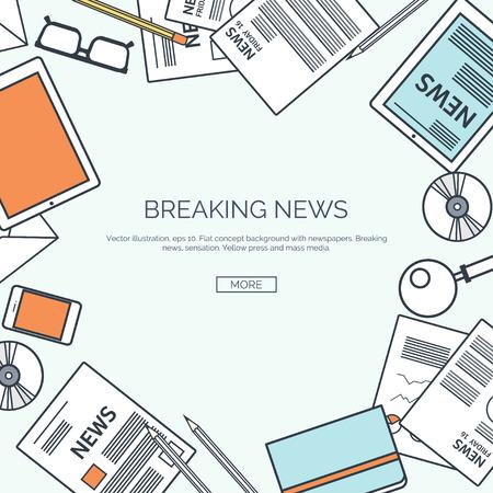 online marketing: Vector illustration, lined.  Flat header. Newsletter, information. Business,online market news.