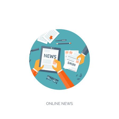 email icon: Vector illustration. Flat header. Online news. Newsletter,information. Business, market information. Financial report.
