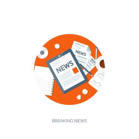 news online: Vector illustration. Flat header. Online news. Newsletter,information. Business, market information. Financial report.