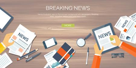 Ilustración del vector. Cabecera plana. Noticias en línea. Boletín de noticias, información. De negocios, información de mercado. Informe financiero.
