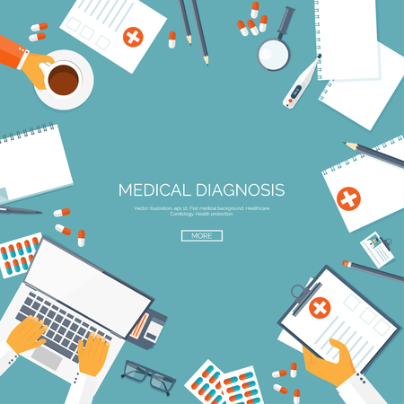 medical illustration: Vector illustration. Flat medical background. First aid ,diagnostic. Medical research ,therapy. Global healthcare.