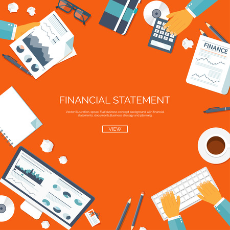 financial statement: Vector illustration. Financial statement and daily report. Money making. Market news. Currency. Infographic.