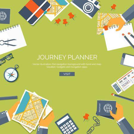 web application: Vector illustration. Flat backgrounds set. Navigation,traveling.  Map pointer,location finding. Web application. Illustration