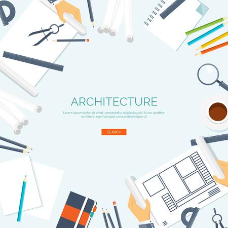 arquitecto: Ilustración del vector. proyecto de arquitectura plana. Trabajo en equipo. La construcción, la planificación. Construcción. Lápiz, mano. Arquitectura y diseño. Vectores