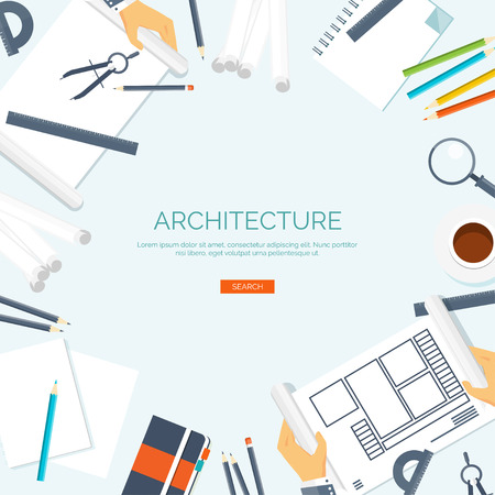 arquitecto: Vector illustration. Flat architectural project. Teamwork. Building ,planning. Construction. Pencil, hand. Architecture and design.