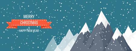 snow landscape: Vector illustration. Winter landscape. Mountaines with snow. Flat. Christmas, new year. Season. Illustration
