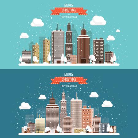 planos: Ilustración del vector. Invierno paisaje urbano. Ciudad de nieve. Navidad y año nuevo. Paisaje urbano. Edificios.