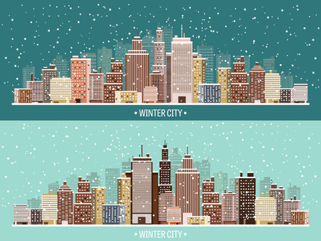 cartoon door: Vector illustration. Winter urban landscape. City with snow. Christmas and new year.  Cityscape. Buildings. Illustration
