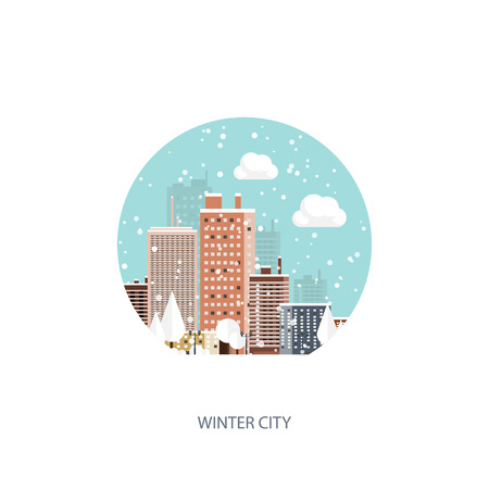 cityscape: Vector illustration. Winter urban landscape. City with snow. Christmas and new year.  Cityscape. Buildings. Illustration