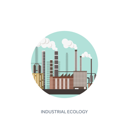 Vector illustration. Urbanisation, industrialisation. Industrial revolution. Pipe. Air pollution. Oil and gas, fuel. Ecology.