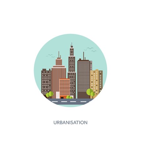 midtown: Vector illustration. Set of city silhouettes. Cityscape. Town skyline. Panorama. Midtown houses. Skyscrapers. EPS10 format. Illustration