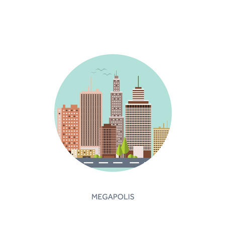 midtown: Vector illustration. Set of city silhouettes. Cityscape. Town skyline. Panorama. Midtown houses. Skyscrapers.   format. Illustration