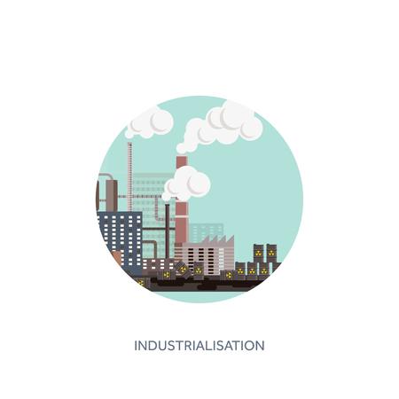 Ilustración del vector. Urbanización, industrialización. Revolución industrial. Tubo. La contaminación del aire. El petróleo y el gas, combustible. Ecología.