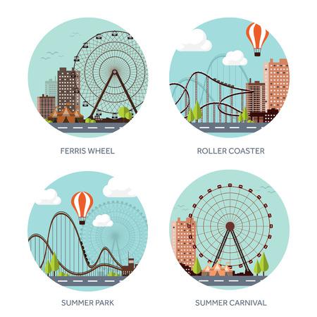 family park: Vector illustration. Ferris wheel. Summer carnival. Funfair background. Circus park. Roller coaster.
