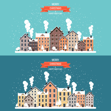 urban city: Vector illustration. Winter urban landscape. City with snow. Christmas and new year.  Cityscape. Buildings. Illustration