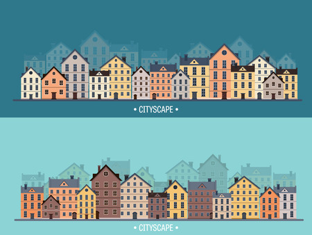 scape: Vector illustration. City silhouettes. Cityscape. Town skyline. Panorama. Midtown houses. Summer. Illustration