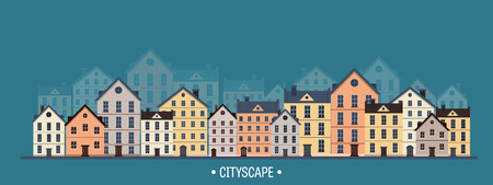 city scape: Vector illustration. City silhouettes. Cityscape. Town skyline. Panorama. Midtown houses. Summer. Illustration