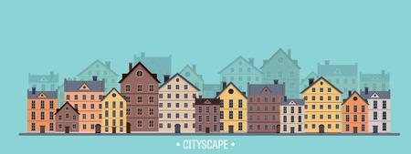 midtown: Vector illustration. City silhouettes. Cityscape. Town skyline. Panorama. Midtown houses. Summer. Illustration