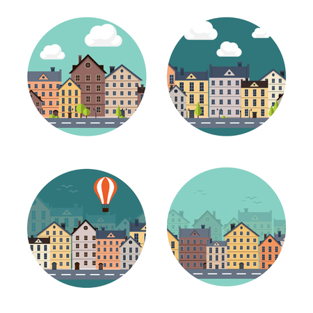 white house: Vector illustration. City silhouettes. Cityscape. Town skyline. Panorama. Midtown houses. Summer. Illustration