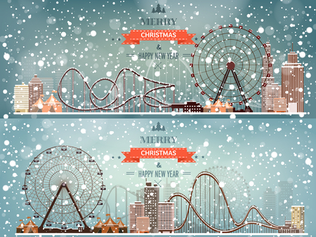 amusement park black and white: Vector illustration. Ferris wheel. Winter carnival. Christmas, new year. Park with snow.