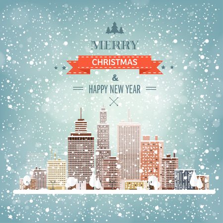 christmas night: Vector illustration. Winter urban landscape. City with snow. Christmas and new year.  Cityscape. Buildings. Illustration