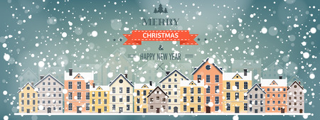 Vector illustration. Winter urban landscape. City with snow. Christmas and new year.  Cityscape. Buildings. Illustration