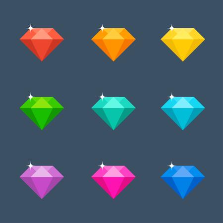 rich girl: Vector illustration. Flat diamond with shadow. Crystal. Illustration