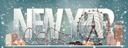 amusement park black and white: Ferris wheel. Winter carnival. Christmas, new year. Park with snow. Roller coaster.